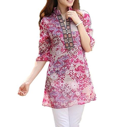 FUYI Women's Vintage Colourful Floral Print Casual Slim Shirt Top Blouse M Red