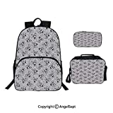 Custom Three-Piece School Bag,Lunch Bag,Pencil Bag,Crowned Skull Crossbones Illustration Against Animal Print Pattern,For Travel School Hanging Out Gifts