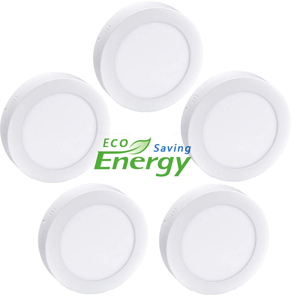 W-LITE 6.69 Inch 12W LED Panel Wall Ceiling Down Lights, Panel Lamp Mount Surface, Round, 5000K/Daylight White, AC 86-265V, 80W Halogen Bulb Equivalent, [Energy Class A+] (12W-5 pack)