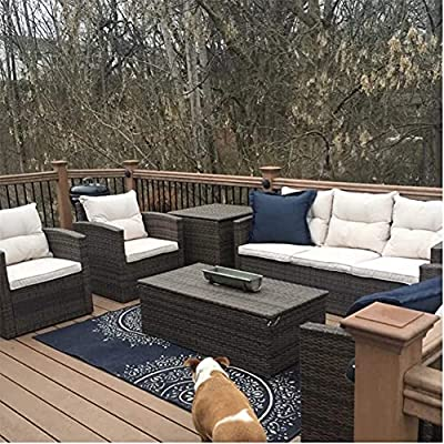 MengFeiNi Outdoor7 Seater Sectional PE Rattan Sofa Set