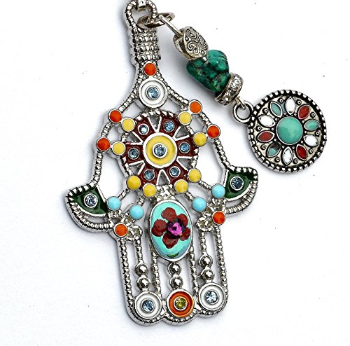 Hamsa Hand Necklace with Painted Flower Swarovski Crystal Rhinestone & Genuine Turquoise Nugget Bead ()