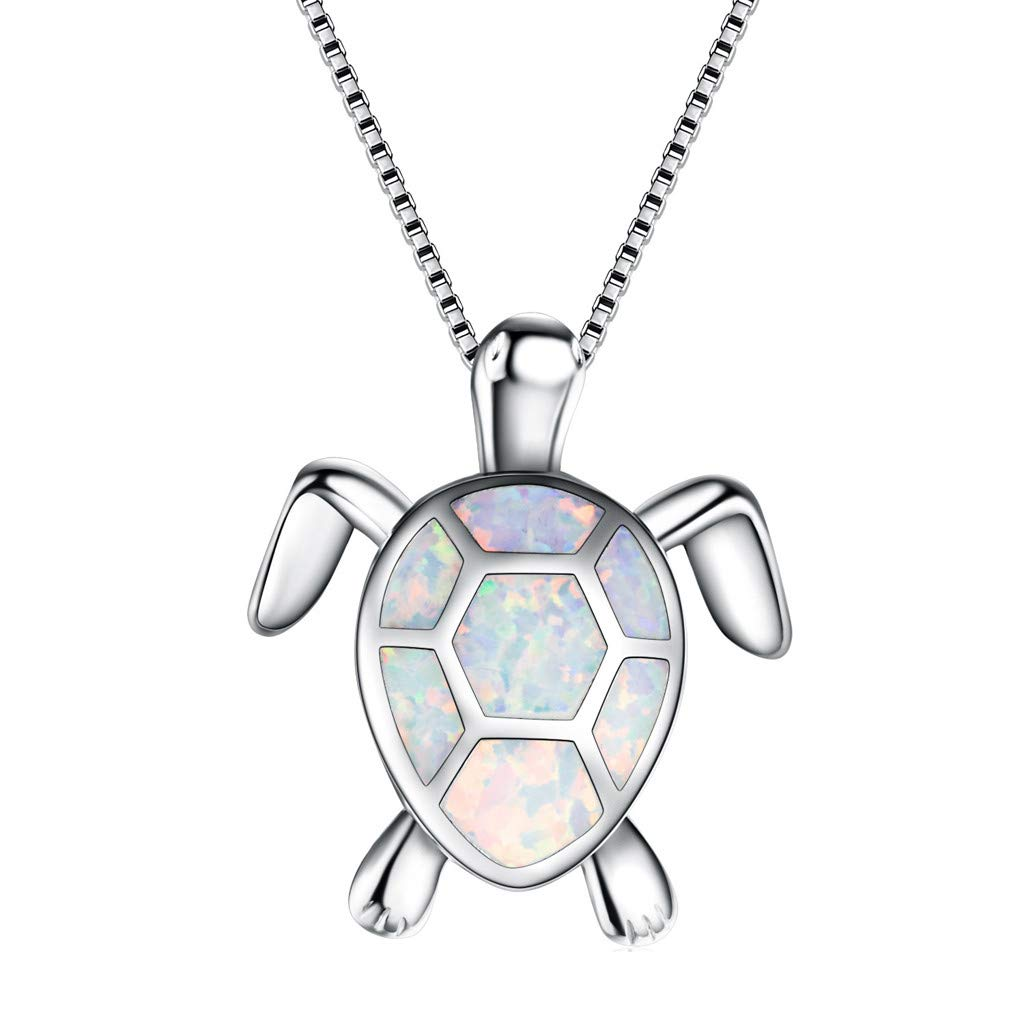 Cute Sweater Opal Turtle Pendant Necklace ONLY $4.00 Shipped