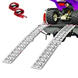 Clevr 7.5' Pair of Folding Arched Aluminum Ramps for ATVs, UTVs, Motorcycles, Dirt Bikes, 4 Wheelers, Lawnmowers Truck, 90' Long, 1,500 lbs Capacity