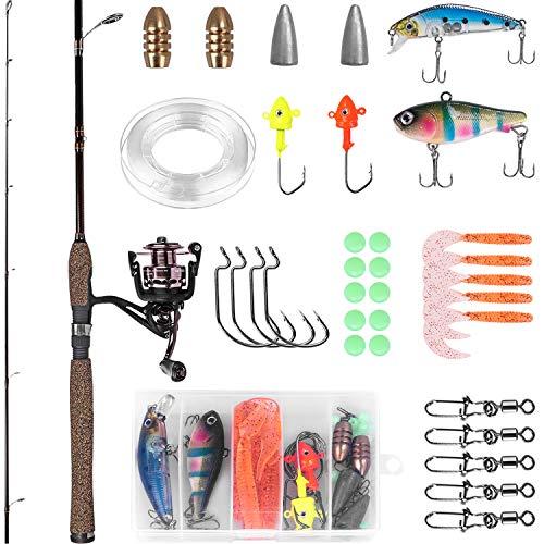 PLUSINNO Telescopic Fishing Rod and Reel Combos Full Kit, Spinning Fishing Gear Organizer Pole Sets...
