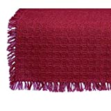 70 x 120 (Rectangle) Homespun Tablecloth, Hand Loomed, 100% Cotton, Solid Cranberry