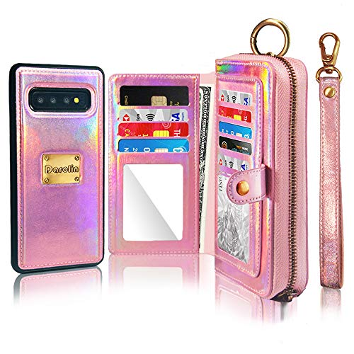 Darolin Case for Samsung Galaxy S10 Plus Leather Wallet Case [Magnetic Detachable] Zipper Case with [Mirror][14 Card Slot][Cash Purse][Coin Pocket] Clutches Evening Bag for Women Girls ()