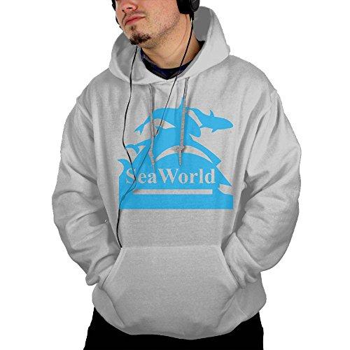 (Men's Long Sleeve Seaworld Logo Lightweight Hoodie With Pocket)