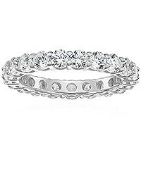 Platinum-Plated Sterling Silver Swarovski Zirconia (3 cttw) All-Around Ring
