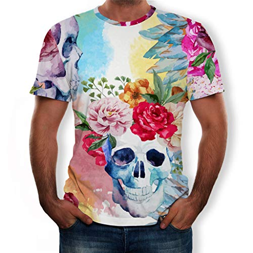WYTong T-Shirts For Men Summer Fashion 3d Printing Skeleton Hot Cool Milk Silk Short-Sleeved Shirt New Fashion