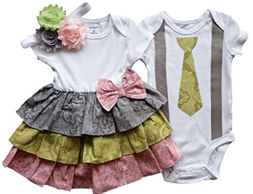 Boy Girl Twin Outfits Cosette and Caleb by Perfect Pairz USA Made Outfit by Perfect Pairz