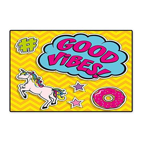Good Vibes Door Mat Small Rug Fantastic Colorful Fun Design Cute Magic Unicorn Speech Bubble Stars and Donut Bath Mat for Bathroom Mat 16