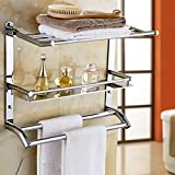Wall Mounted Swing Towel Bar - Silver Stainless Steel Bath Towel Rod Towel Bar Double Towel Bar Bathroom Wall Shelf Rack Hanging Towel Brushed Nickel Kitchen Swivel Towel Rack Hanger