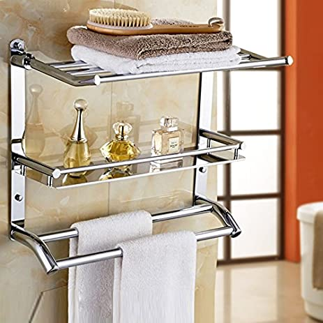 Amazon.com: Wall Mounted Swing Towel Bar - Silver Stainless Steel ...