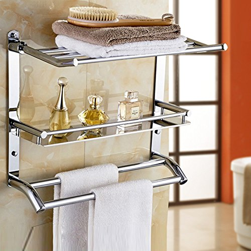 Wall Mounted Swing Towel Bar - Silver Stainless Steel Bath Towel Rod ...