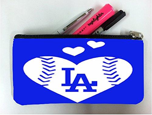 Pencil Angeles Dodgers Los (Go Dodgers We Love LA Student Pen Pencil Case Coin Purse Pouch Cosmetic Makeup Bag)
