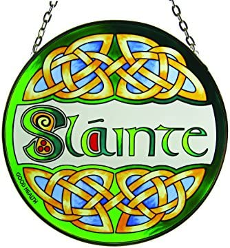 Slainte Round Stained Glass Window Hang Irish Suncatcher