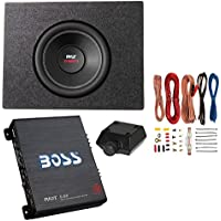 Pyle 10 1000W DVC Subwoofer + Q Power Truck Enclosure + Boss 1100W AB Amplifier