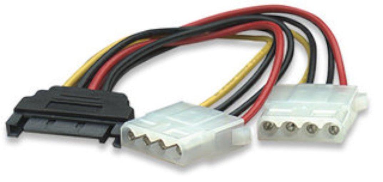 "Blacell 6"" SATA 15-Pin Male to Dual 4-Pin Molex Female Y Splitter, 308977"