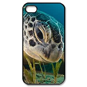 iPhone 4/4s Case Green Sea Turtle, iPhone 4/4s Case Sea Creature Unique For Guys, [Black] by ruishername