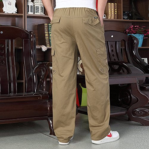 WTUS Men's Retro Casual Cargo Trousers with Elastic Waist L-5XL:  Amazon.co.uk: Clothing