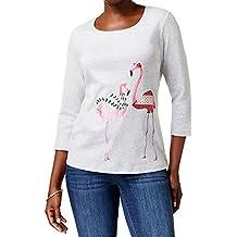 Karen Scott Petite Cotton Holiday Flamingo Graphic Top
