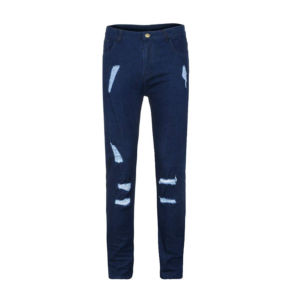 Stoota 2019 Newest Mens Trend Knee Holes Zippers Small Feet Jeans and Pants