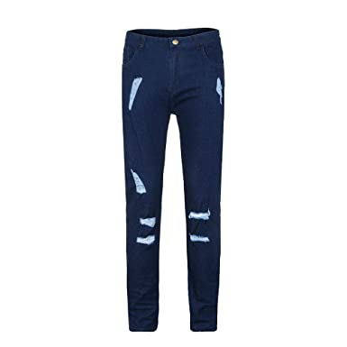 41b522fe024f2 Sonnena Badges Jeans Percé Bleu Foncé Hommes Slim Biker Zipper Denim  Pantalon Skinny Effiloché Distressed Pantalons