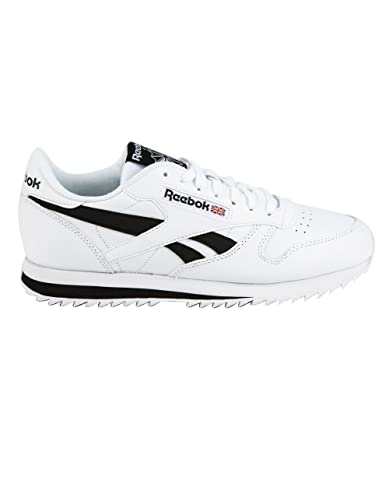 cfeee93ce8f Reebok Lifestyle Men s Classic Leather Ripple Low BP White Black 3.5 ...
