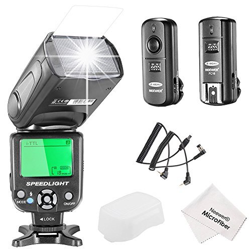 Neewer NW-562N i-TTL Flash Speedlite Kit for Nikon DSLR Camera Kit Include:(1)NW562N Flash+(1)FC-16 2 4Ghz Wireless Trigger(1 Transmitter+1 Receiver)+(1)Microfiber Cleaning Clothの商品画像