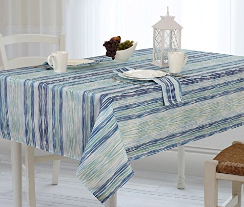 Dining Table Deco (Casual Living by Newbridge Color Stream Indoor Outdoor Polyester Table Linens, 52-Inch by 70-Inch Oblong (Rectangle) Tablecloth, Cool)