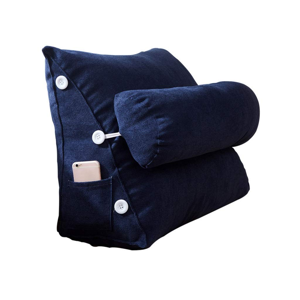 Lil Band Head Pillow Triangle Cushion, Sofa Office Bay Window Lumbar Pillow/Lumbar Support Waist/Pillow (can Be Adjusted in Three Steps) (Color : Navy Blue)