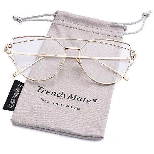 TrendyMate-Womens Street Fashion Metal Twin Beam Flat Mirror Lens Cat Eye Sunglasses … (Gold / Transparent, - Sunglasses Transparent