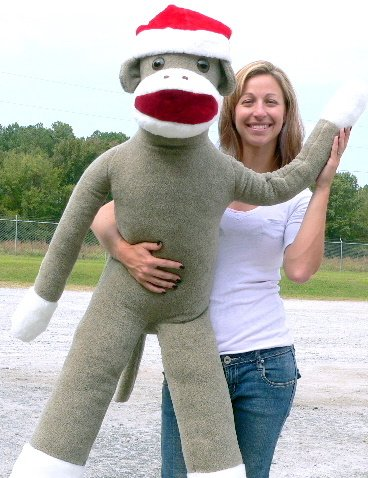 American Made Huge Plush Sock Monkey 54 Inches Soft Wears Removable Christmas Santa Hat Made in The USA -