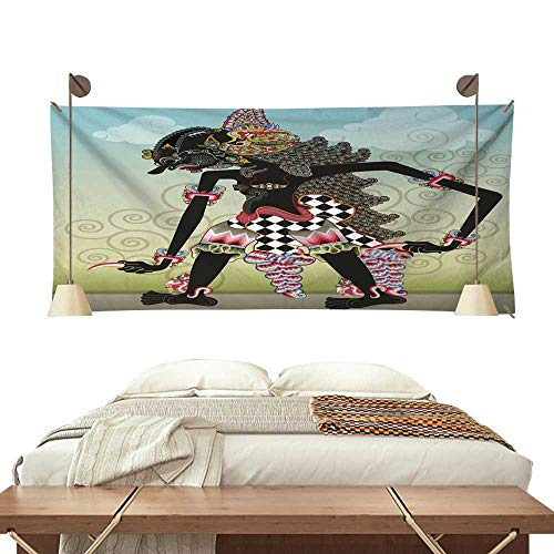 (BlountDecor Pattern Tapestry Knight Character on Shadow Puppets 93W x 70L Inch)
