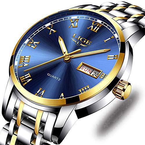 (Watches,Mens Full Stainless Steel Luminous Quartz Watch Fashion Casual Business Dress Wristwatch Waterproof 30M Water)