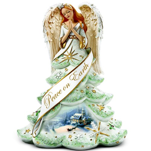 amazoncom thomas kinkade jeweled christmas angel of peace figurine by the bradford exchange home kitchen - Christmas Angel Figurines