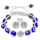 Hip Hop Style Hematite Beads, Evil Eye Beads & Disco Ball Bracelet & Earring Set