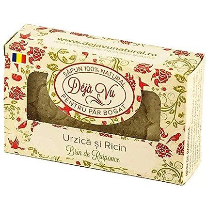 Jabón 100% natural hecho a mano con ortiga y aceite de ricino (para cabello