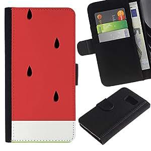 KingStore / Leather Etui en cuir / Samsung Galaxy S6 / Arte sandía Cortar la fruta sana