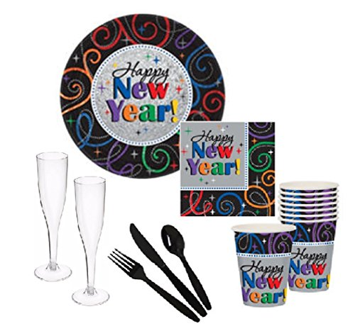 Cheers Happy New Years! Party Supply Pack for 16 Guests - Plates, Napkins, Cups, Plastic Flutes & Cutlery