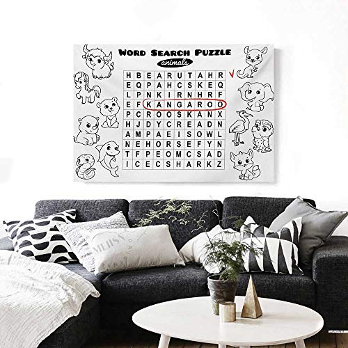 (Word Search Puzzle Wall Paintings Black and White Game Sheet Design Finding The Names of Animals Print On Canvas for Wall Decor 36