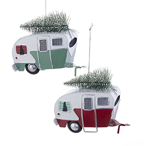 Kurt Adler Red and Green Campers Hauling Trees Tin Christmas Holiday Ornaments Set of 2