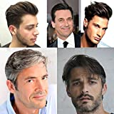 AIRAO All Swiss Lace Base Custom Mens Toupee Hairpiece Human Indian Hair Replacement System Prosthesis Wigs - #120(Jet Black with 20% Gray Hair)