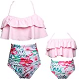 Mommy and Me Swimsuits High Waisted Family Matching Swimwear Baby Girls Floral Printed Bikini Set (L, 05-Light Pink-Women)