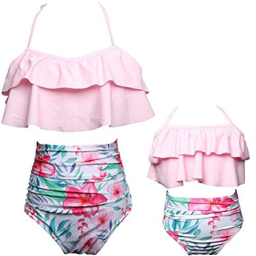 Pink Floral Bikini Swimsuit - Mommy and Me Swimsuits High Waisted Family Matching Swimwear Baby Girls Floral Printed Bikini Set (M, 05-Light Pink-Women)