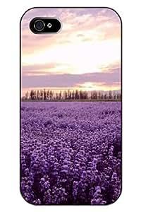 SPRAWL Clear Print Lavender under Sunrise Protective Hard Plastic Snap on Uniqe Design iPhone 4s Case Flower