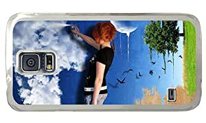Hipster leather Samsung Galaxy S5 Cases girl spray wall PC Transparent for Samsung S5