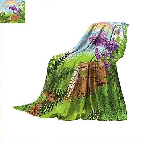 Mushroom Digital Printing Blanket Wood Grass Fungus Art Summer Quilt Comforter 70