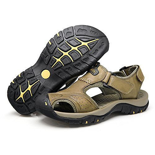 Summer Men's Sandals Outdoor Sports Leather Beach Shoes Hollow Breathable Casual Trekking Shoes Khaki X0JDhMJ
