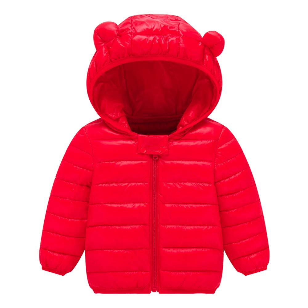 DIGOOD Toddler Baby Boys Girls Cartoon Bear Hooded Cotton Padded Coat,Kids Warm Jacket Tops Winter Outerwear Clothes
